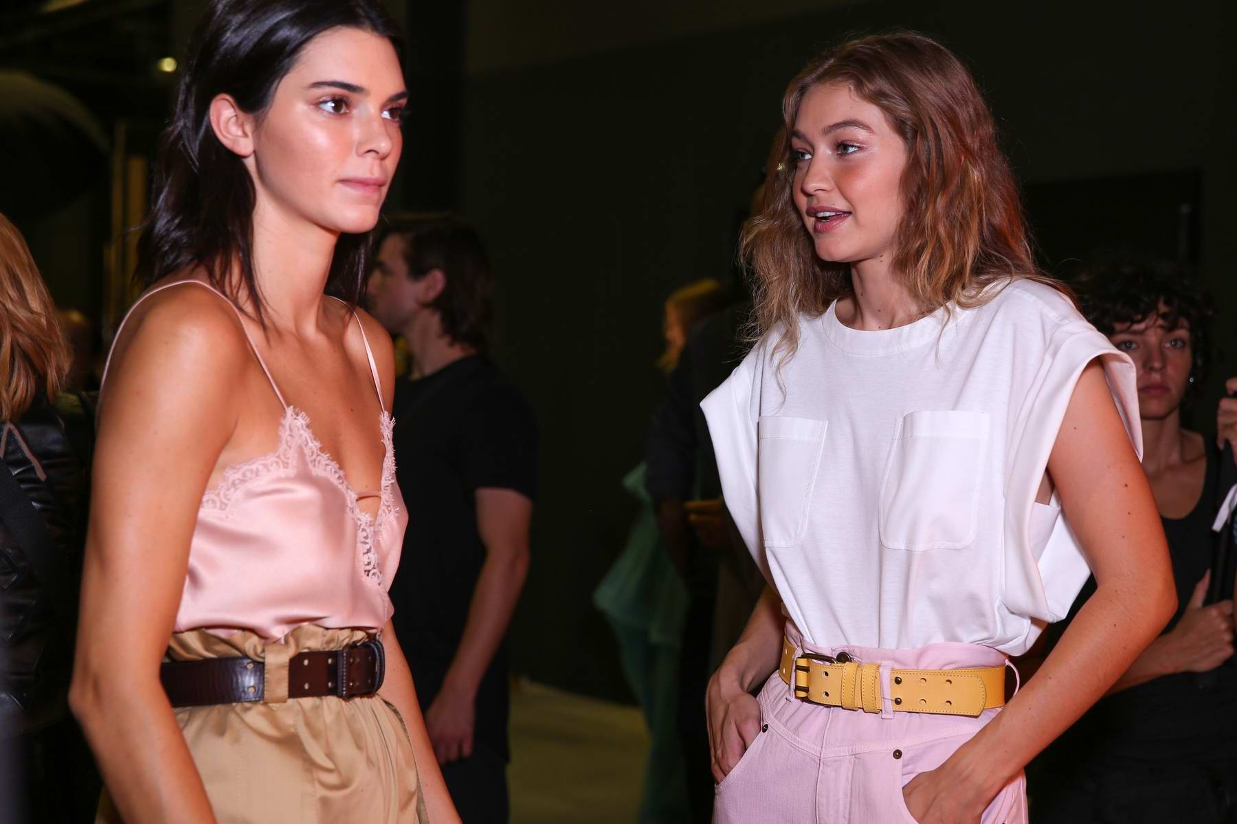 Kendall Jenner and Gigi Hadid at backstage of Alberta Ferretti Show, Spring/Summer 2019 during Milan Fashion Week in Milan, Italy