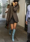 Kendall Jenner seen leaving Versace showroom after a fitting during Milan Fashion Week in Milan, Italy