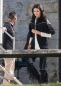 Kendall Jenner spotted during the shooting of a commercial with ponys at Musée du Cheval at Chantilly Castle in France