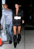 Kendall Jenner spotted in a black satin blazer dress while out in New York City