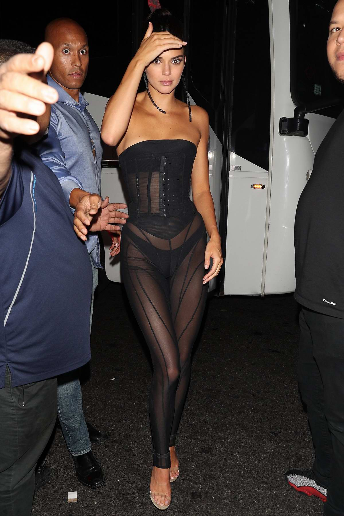 Kendall Jenner Wears A Black Sheer Outfit As She Arrives