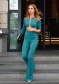 Kimberley Garner steps out in a turquoise outfit during Milan Fashion Week in Milan, Italy