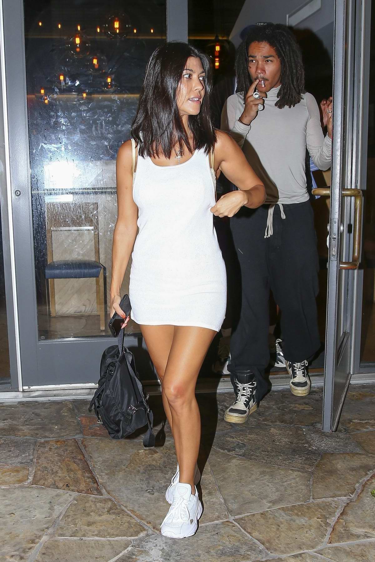 Kourtney Kardashian Wore A Short White Dress As She Leaves Sugarfish