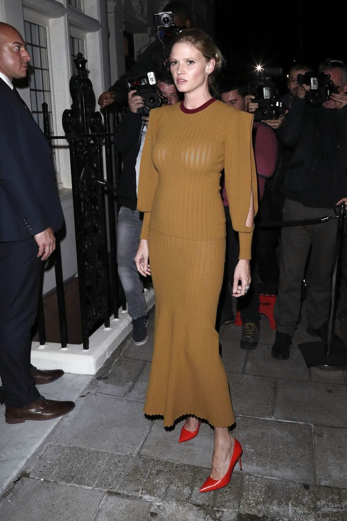 Lara Stone attends Victoria Beckham x Vogue Party at Mark's Club during London Fashion Week in London, UK