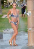 Lauren Hubbard spotted in a patterned blue bikini as she takes a shower after a beach day in Malabon, Philippines