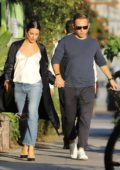 Lea Michele and Zandy Reich hold hands on their way to a double date in Santa Monica, California