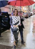 Leighton Meester looks cute in a black and white polka dress as she arrives at Good Morning America in New York City