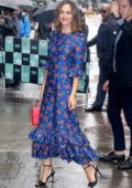 Leighton Meester wears a blue floral dress while visiting the Build Series in New York City