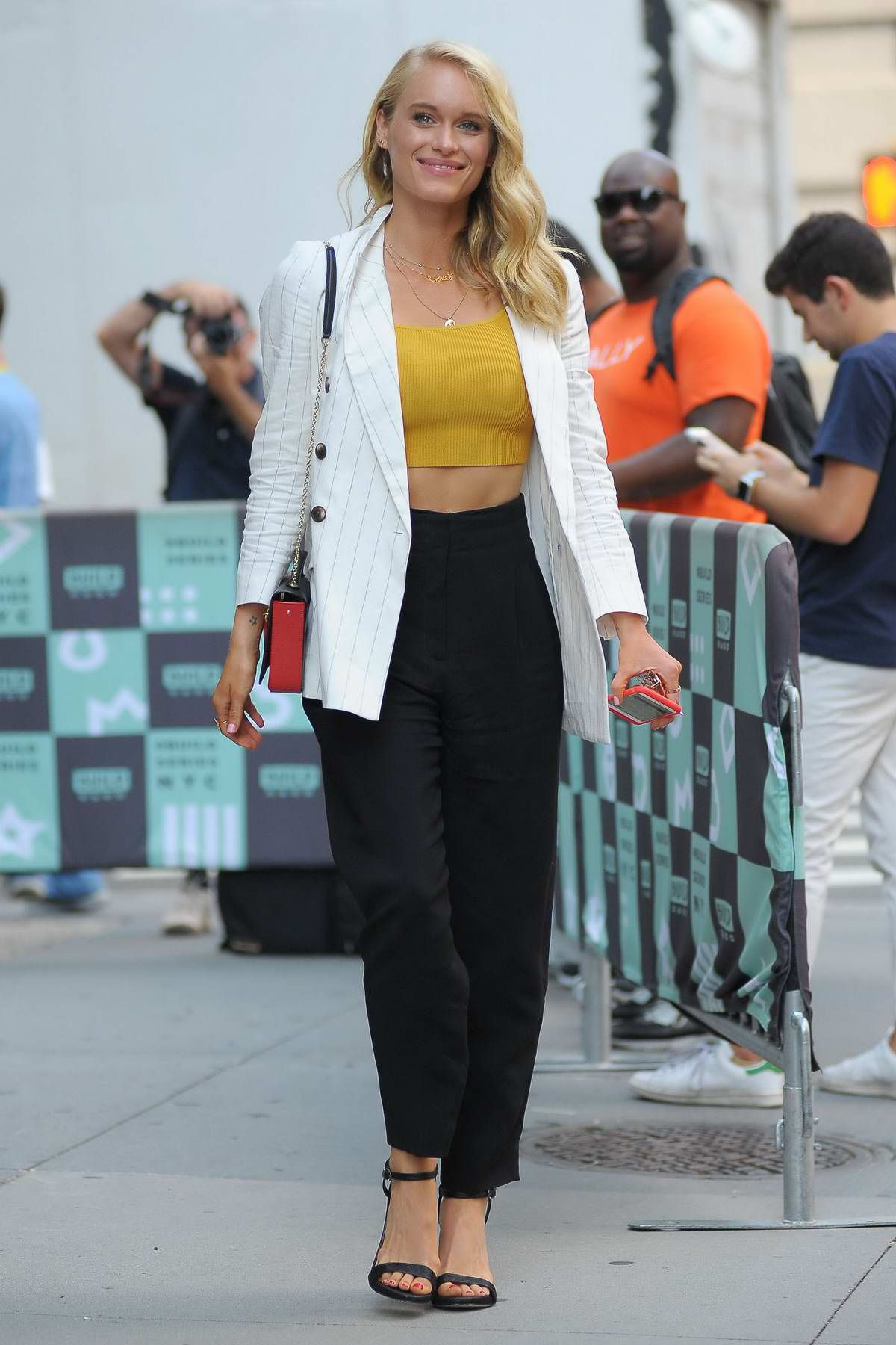 Leven Rambin seen outside at AOL Build Studios in New York City