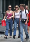 Lily-Rose Depp wore a cropped pink top and jeans while out with her friends in New York City