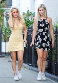 Lottie Moss wears a short yellow dress while out with friends Tina Stinnes and Jessica Molly Dixon in Chelsea, UK