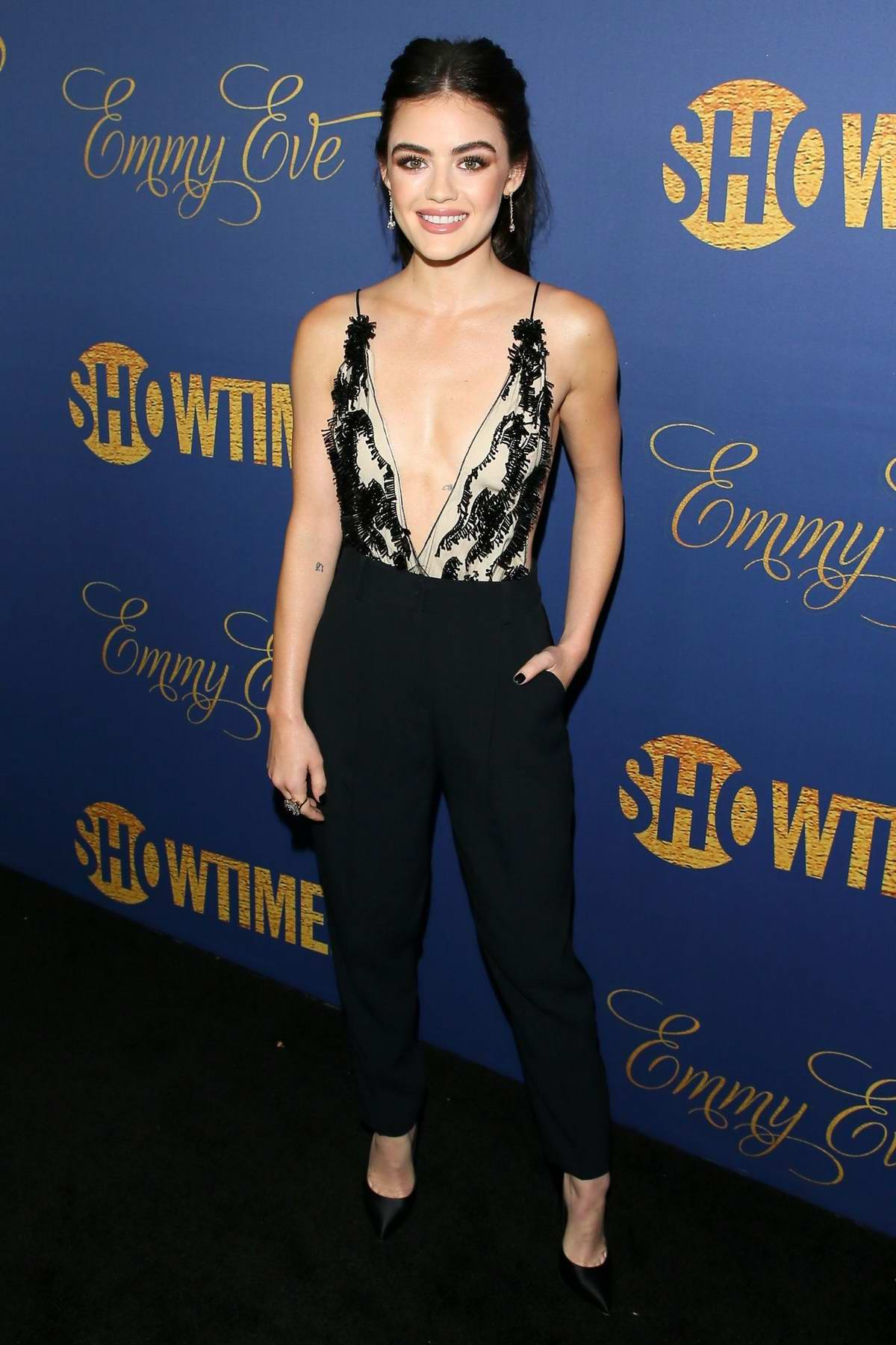 Lucy Hale attends Showtime EMMY Eve Nominees Celebration at Chateau Marmont in West Hollywood, Los Angeles