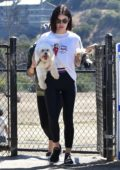 Lucy Hale enjoys her Sunday morning with her pup at a dog park in Los Angeles
