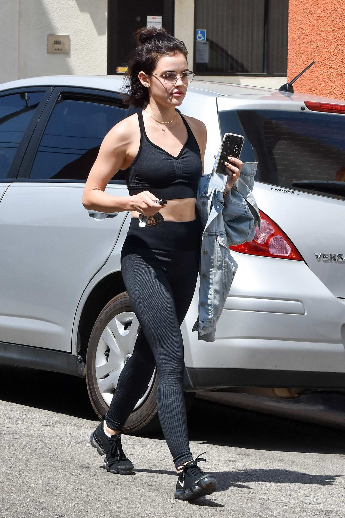 74904b1e9eb1d lucy hale heads out in a black sports bra and leggings after a workout  session at a gym in los angeles-010918_4