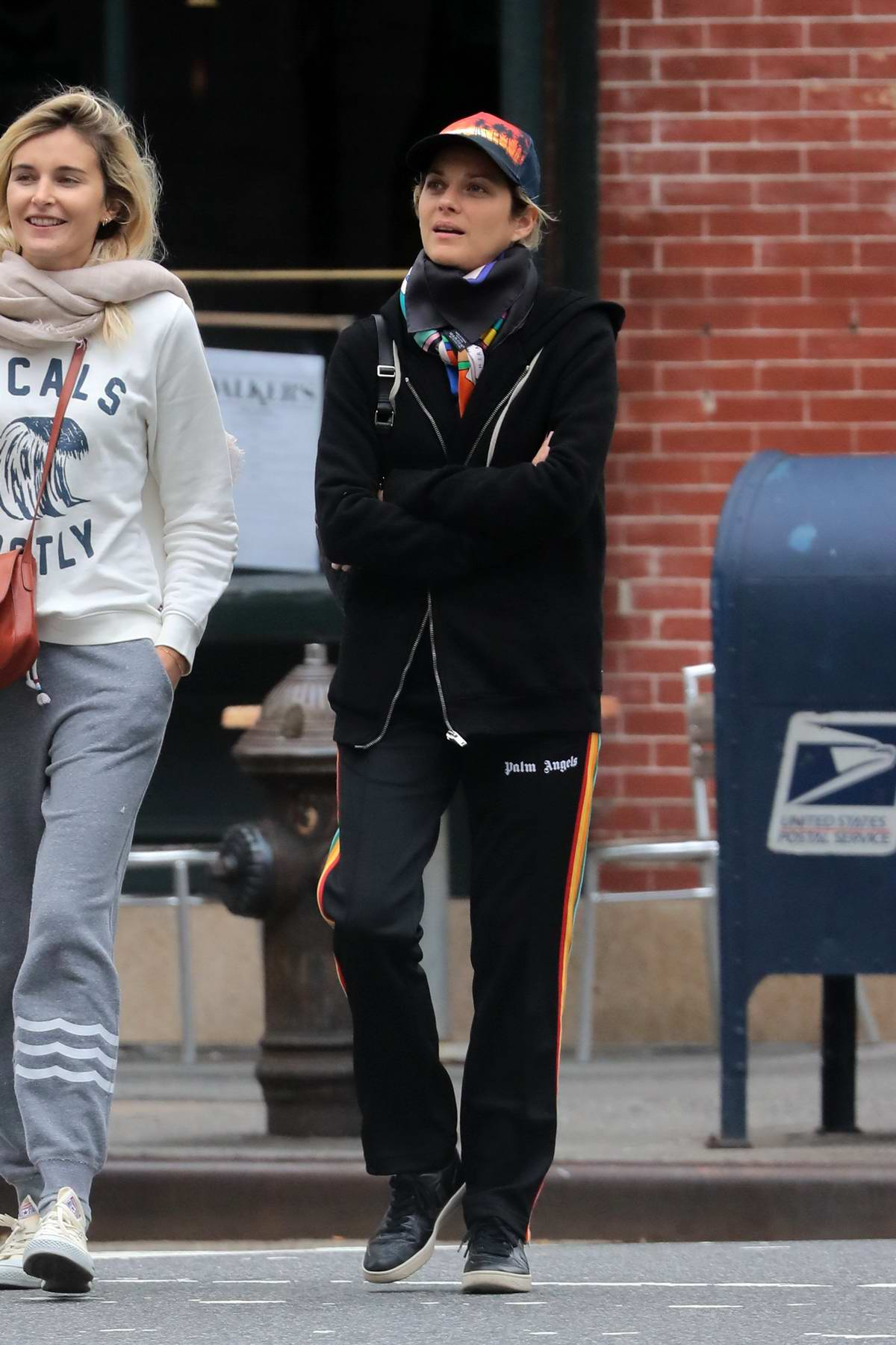 Marion Cotillard looks casual as she goes shopping with a friend in New York City