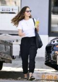 Minka Kelly stops by to pick up a healthy smoothie from the Beverly Hills Juice Club, Los Angeles