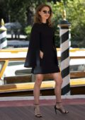 Natalie Portman spotted in a short black dress as she arrives to the Hotel Excelsior during 75th Venice Film Festival in Venice, Italy