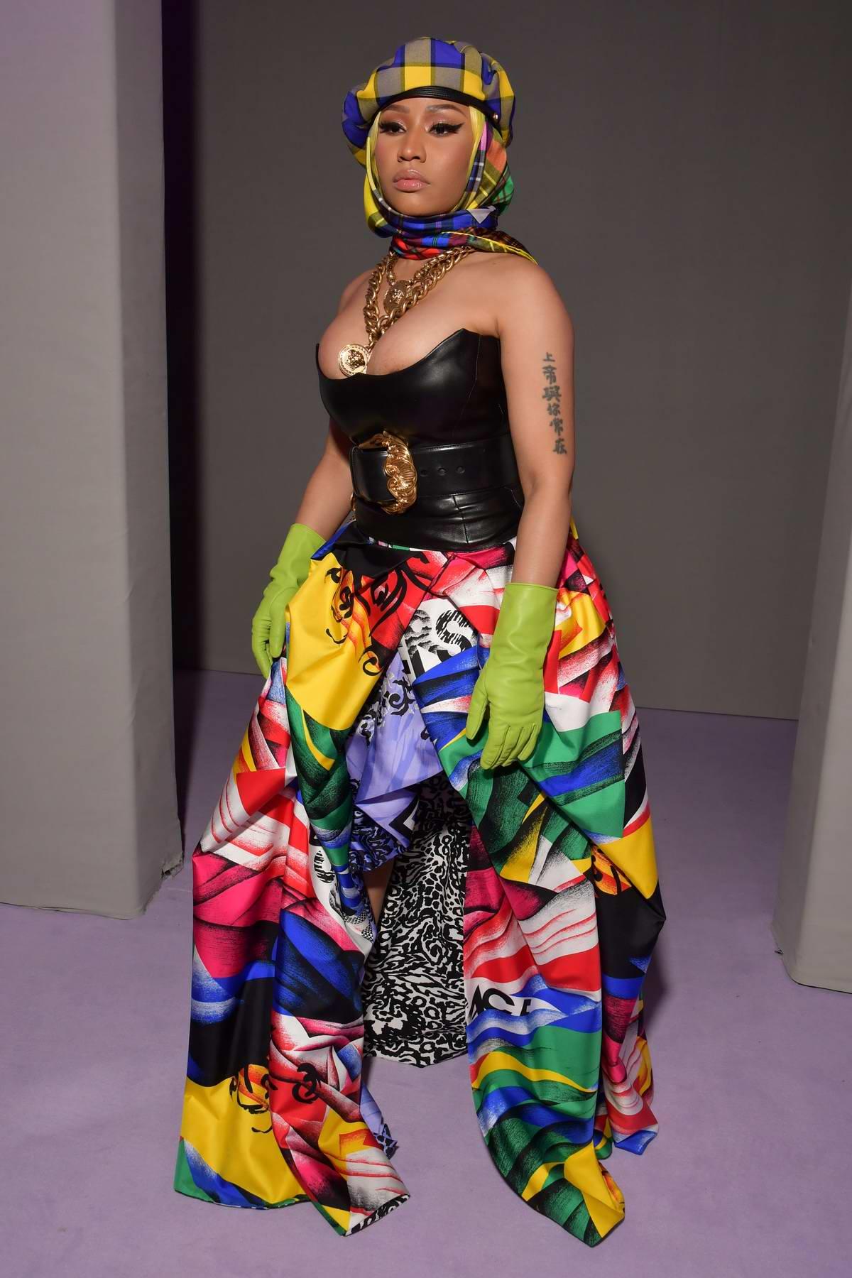 bb1d1acb3be Nicki Minaj rocks a colorful ensemble while attending Versace Show