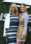 Nina Agdal, boyfriend Jack Brinkley Cook and his mother Christie Brinkley attends the Men's Singles Final at the 2018 US Open in New York