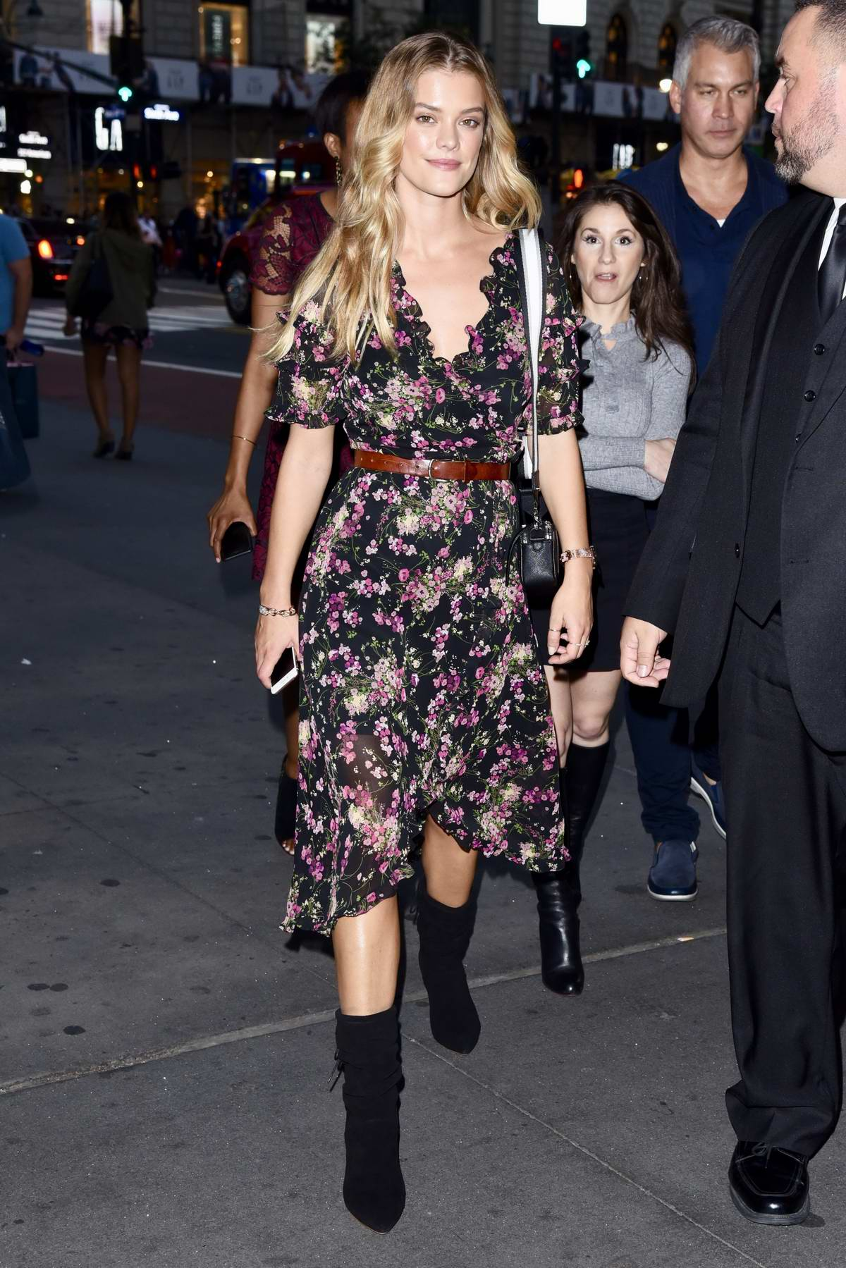 Nina Agdal looks pretty in a floral print dress during night out in New York City