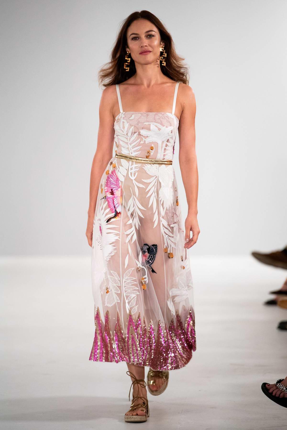 Olga Kurylenko walks the runway at Temperley London Show, Spring/Summer 2019 during London Fashion Week in London, UK