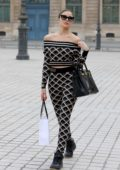 Olivia Culpo looks stylish in her Fendi outfit while out for some shopping in Paris, France