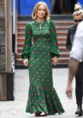 Olivia Wilde wears a long flowing green dress to promote her film 'Life Itself' at the Toronto International Film Festival (TIFF 2018) in Toronto, Canada