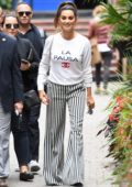 Penelope Cruz seen wearing Chanel sweatshirt and striped pants while promoting 'Everybody Knows' at the Toronto International Film Festival (TIFF 2018) in Toronto, Canada