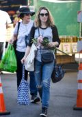 Rachel McAdams shops for some flowers and fruits at the Farmers Market in Los Angeles