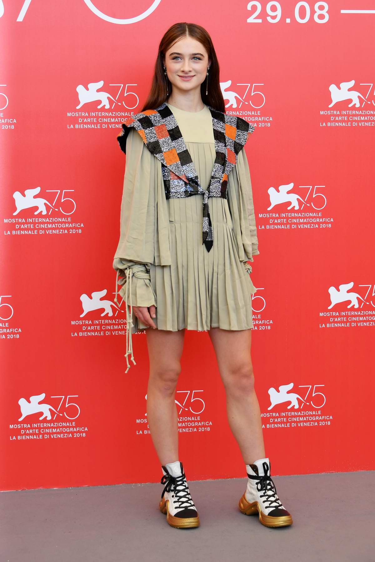 Raffey Cassidy attends 'Vox Lux' photocall during 75th Venice Film Festival in Venice, Italy