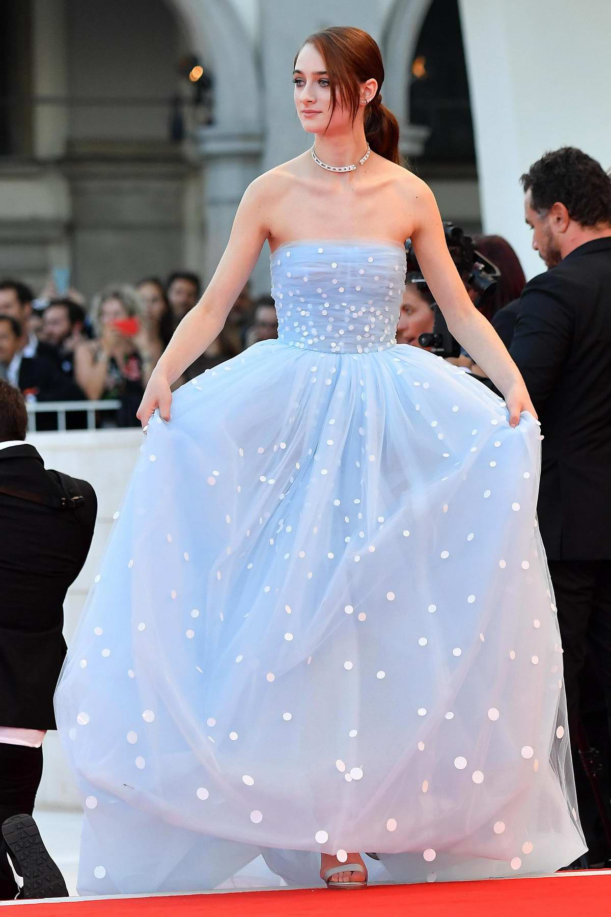 Raffey Cassidy attends 'Vox Lux' premiere during 75th Venice Film Festival in Venice, Italy