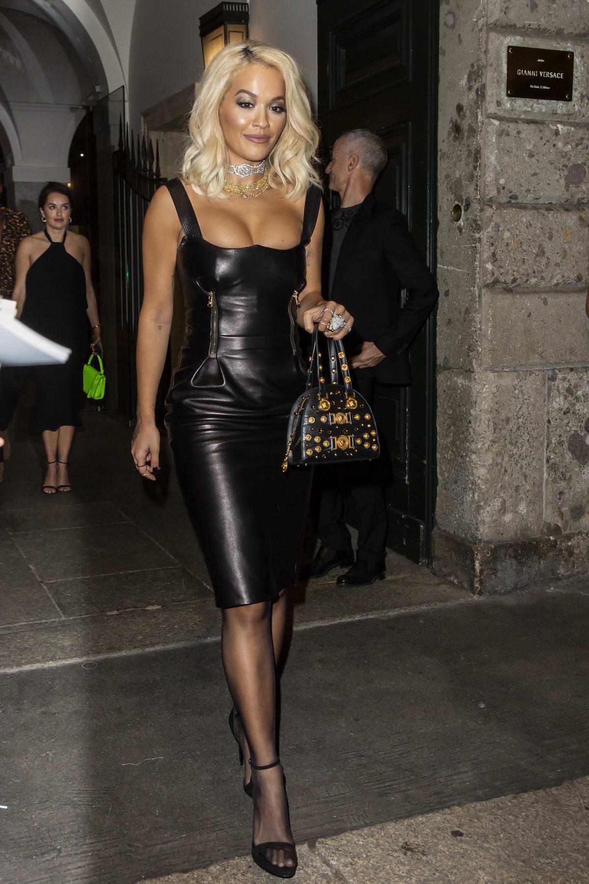 Rita Ora at the Versace after-party during Milan Fashion Week in Milan, Italy