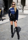 Romee Strijd arrives at the Elie Saab Show during Paris Fashion Week in Paris, France