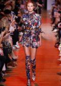 Romee Strijd walks the runway for the Elie Saab Show during Paris Fashion Week in Paris, France