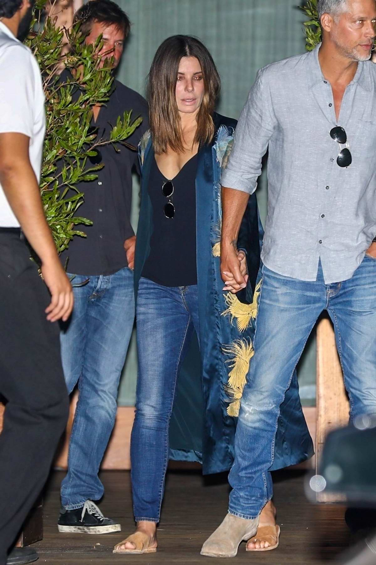 Sandra Bullock and boyfriend Bryan randall spotted leaving the Soho House during a night out in West Hollywood, Los Angeles