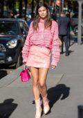Sara Sampaio looks pretty in an all pink ensemble as she heads out during Paris Fashion Week in Paris, France