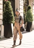 Sara Sampaio steps out in a Fendi outfit as she arrives at the Royal Monceau Hotel in Paris, France