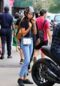 Sara Sampaio takes a motorcycle ride with boyfriend Oliver Ripley in Soho, New York City