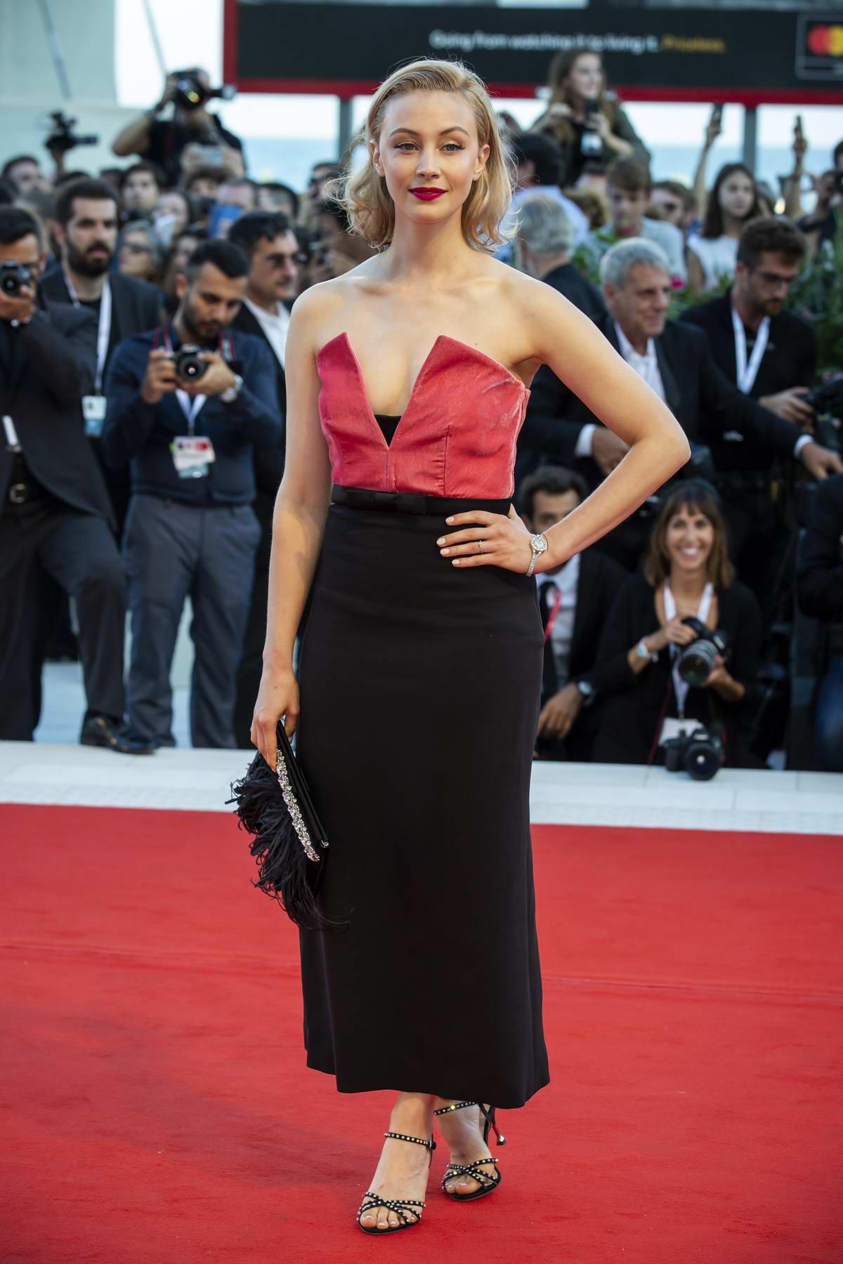 Sarah Gadon attends 'Vox Lux' premiere during 75th Venice Film Festival in Venice, Italy