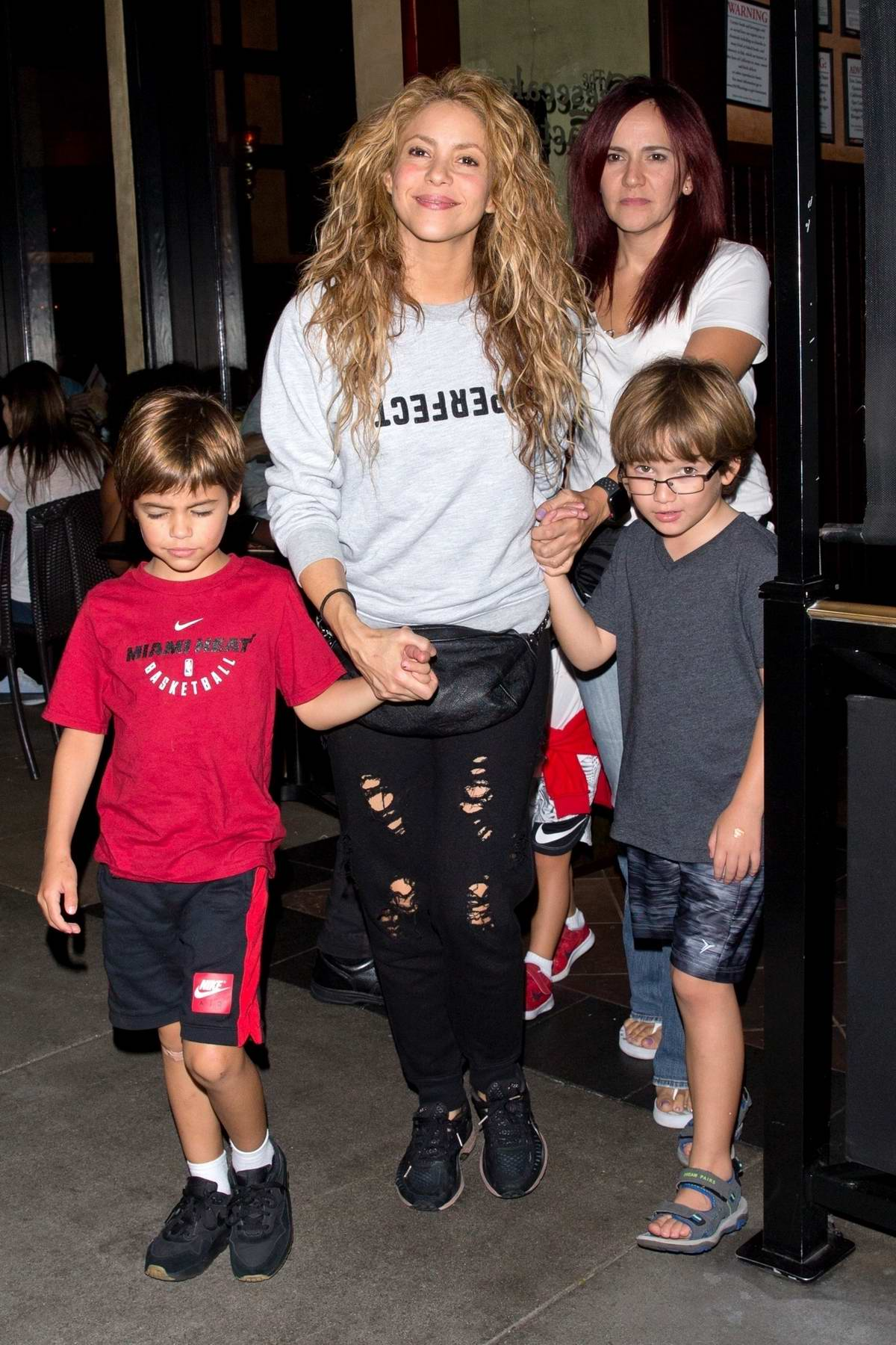 Shakira takes her sons to dinner at 'The Cheesecake Factory' in Beverly Hills, Los Angeles