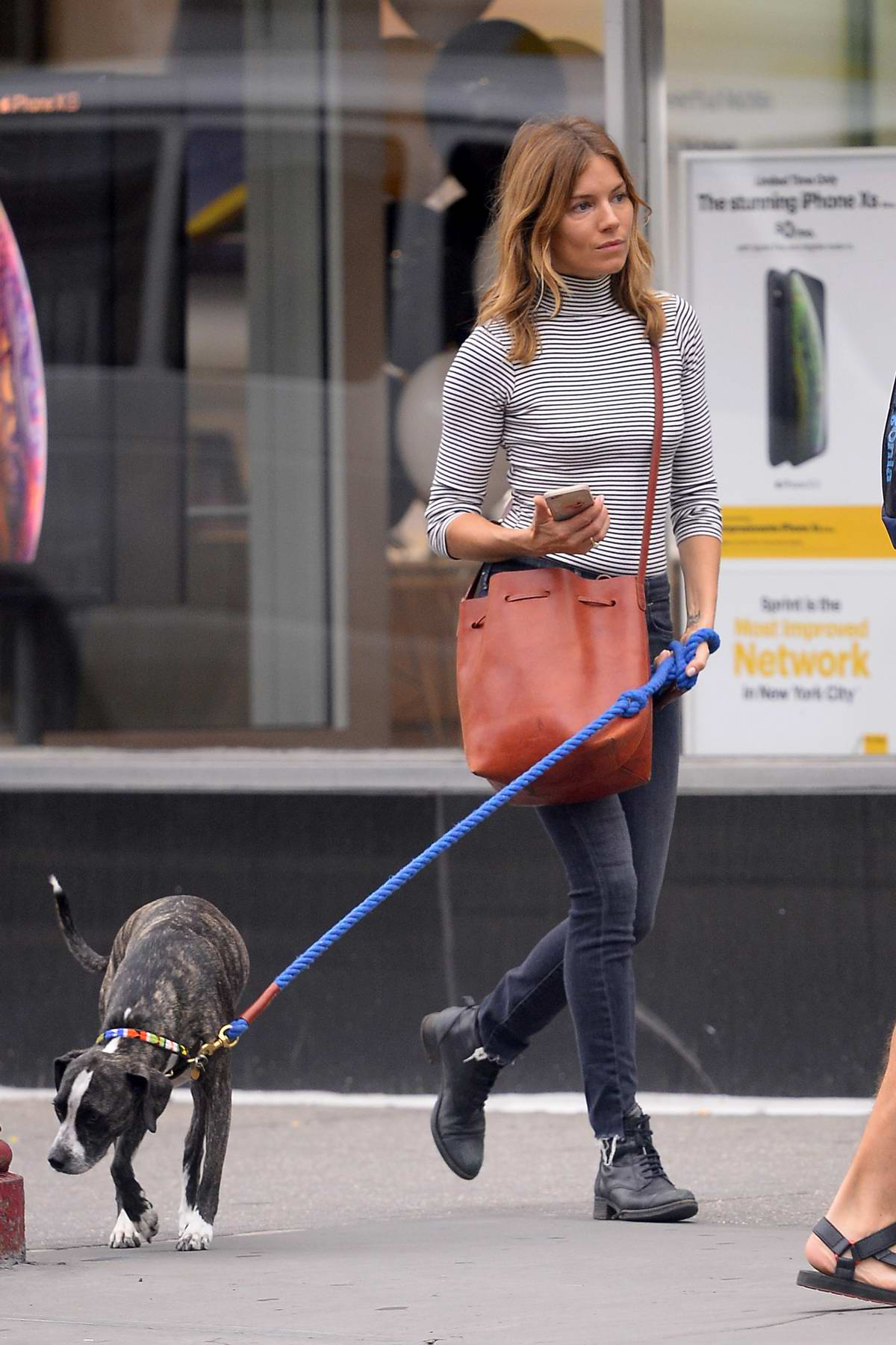 Sienna Miller stepped out in a black and white striped turtleneck and skinny jeans while walking her dog in the West Village, New York City