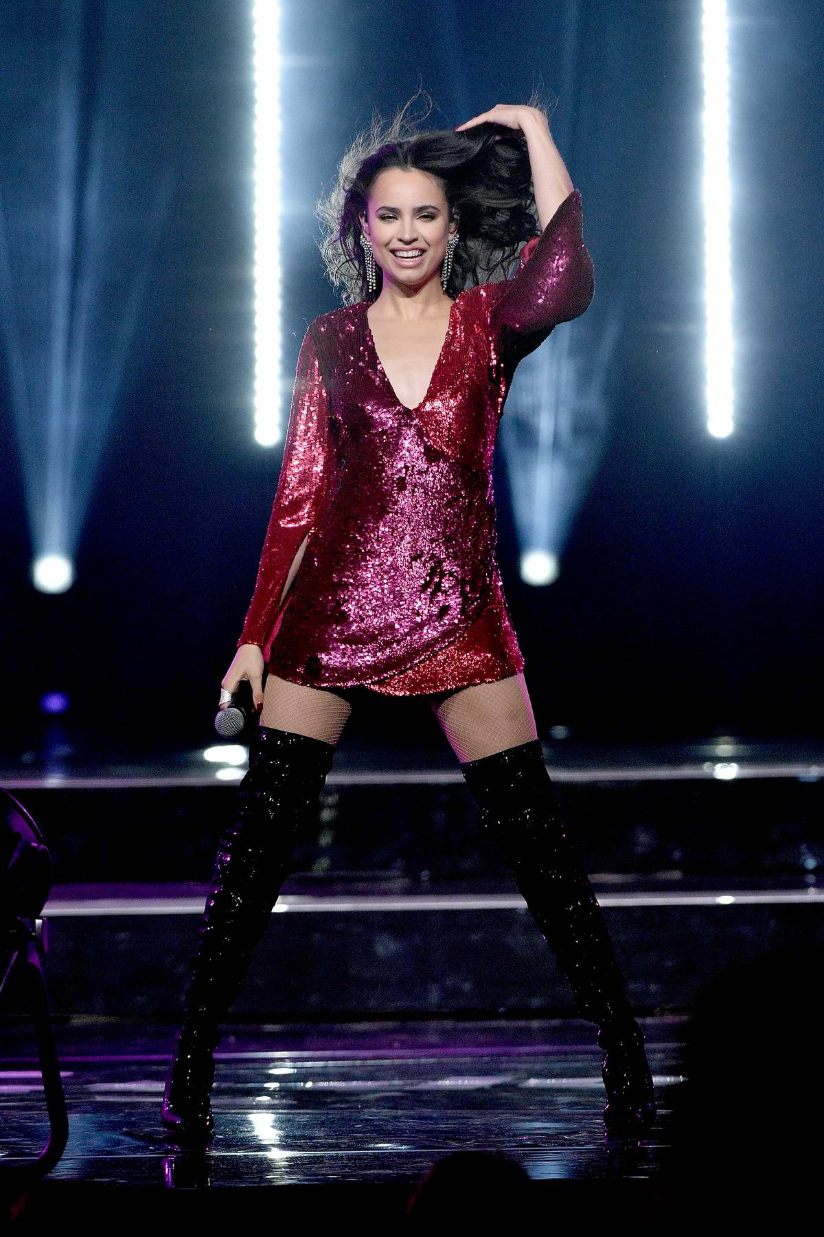 Sofia Carson performs at the WE Day UN 2018 in New York City
