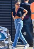 Sofia Richie seen in a black cropped top and jeans as she left Nobu in Malibu, California