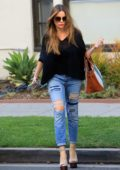 Sofia Vergara wears a black top and ripped jeans while out for some shopping in Beverly Hills, Los Angeles