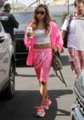 Tinashe rocks all pink as she arrives at the DWTS rehearsal studio in Los Angeles
