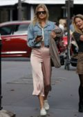 Toni Garrn looks chic while out for breakfast on the Avenue Montaigne in Paris, France