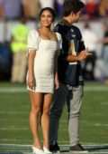 Vanessa Hudgens performs the national anthem at Los Angeles Memorial Coliseum in Los Angeles