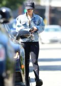 Vanessa Hudgens seen out in denim jacket and leggings with a hat as she leaves her Pilates class in Los Angeles