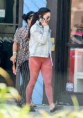 Vanessa Hudgens wears a denim jacket and leggings as she heads to the gym with her mom in Los Angeles