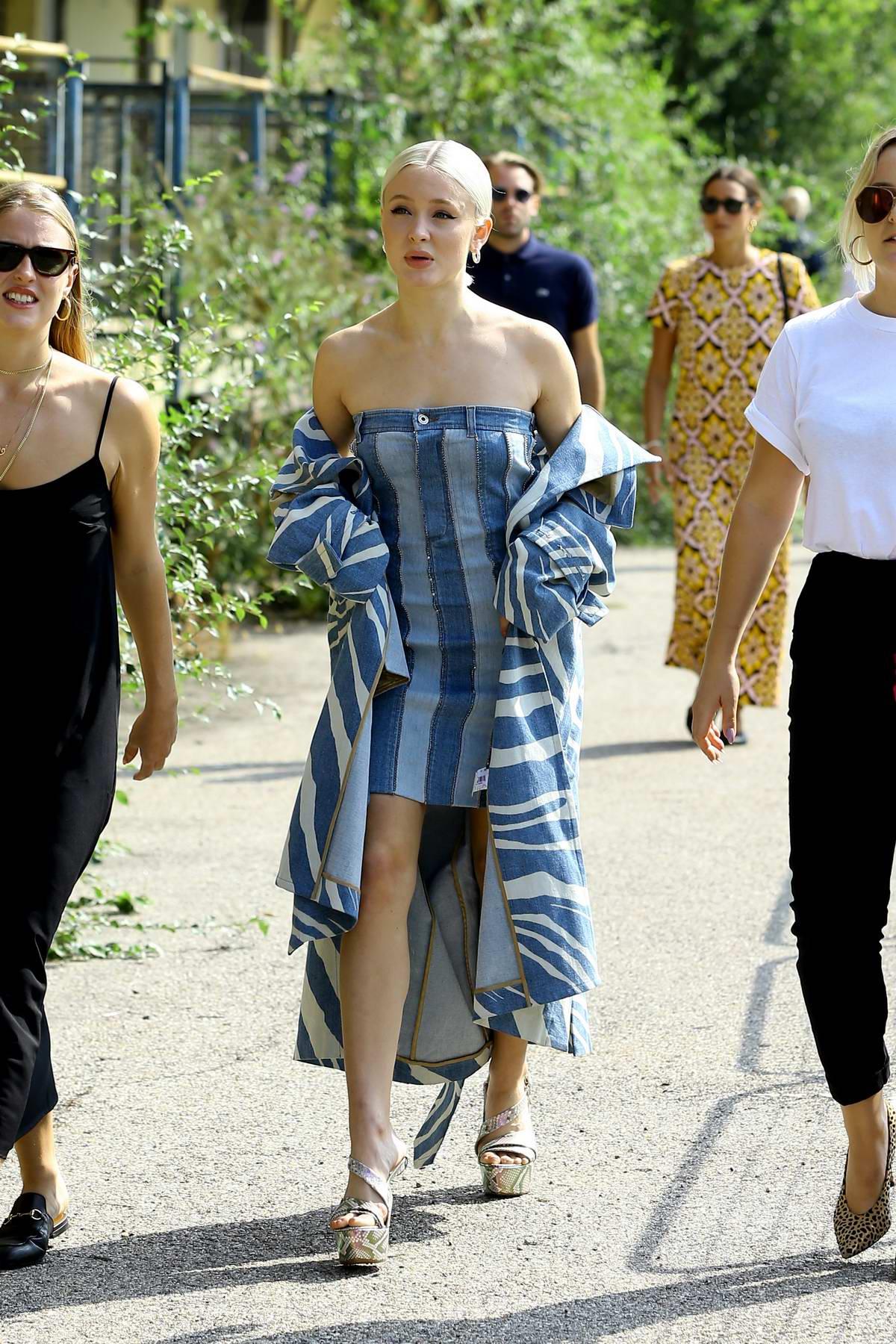 Zara Larsson arrives at Roberto Cavalli, Spring/Summer 2019 Collection during Milan Fashion Week in Milan, Italy